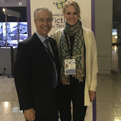 Amy O'Neill with Retired FDNY Chief Joseph Pfeifer at the VIII International Congress for the Victims of Terrorism Nice, France
